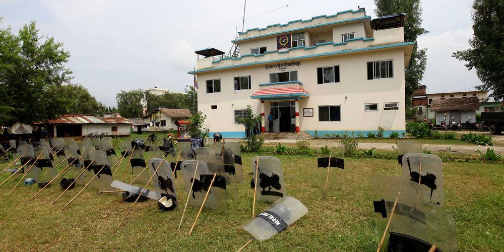 Police standby inside Area Police office,Tikapur ,Kailali on Thursday. Seven police personnel including one Senior Superintendent of Police (SSP) and a eighteen months two days-year-old boy were killed in an attack by the Thaurhat cadres in Tikapur area of Kailali on Monday.