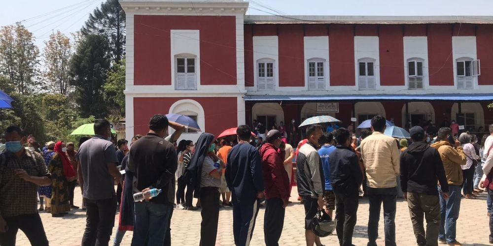 Nepalis line up to get the Verocell vaccine on April 26 at Nepal Police hospital.