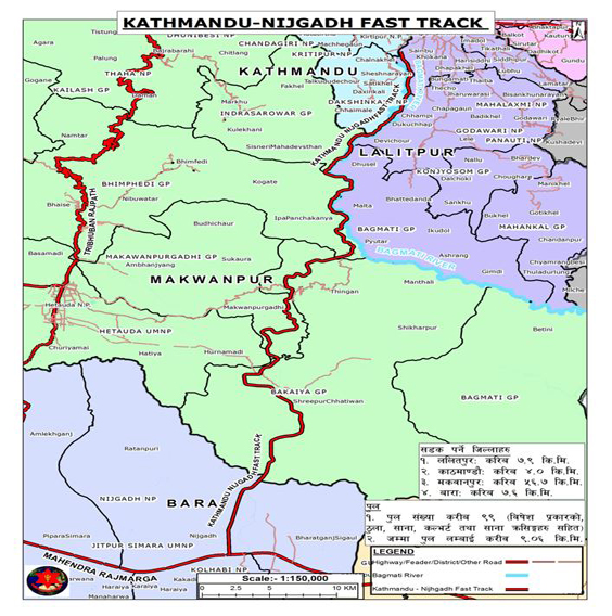 Route of the Fast Track. Image credit: nepalarmy.mil.np