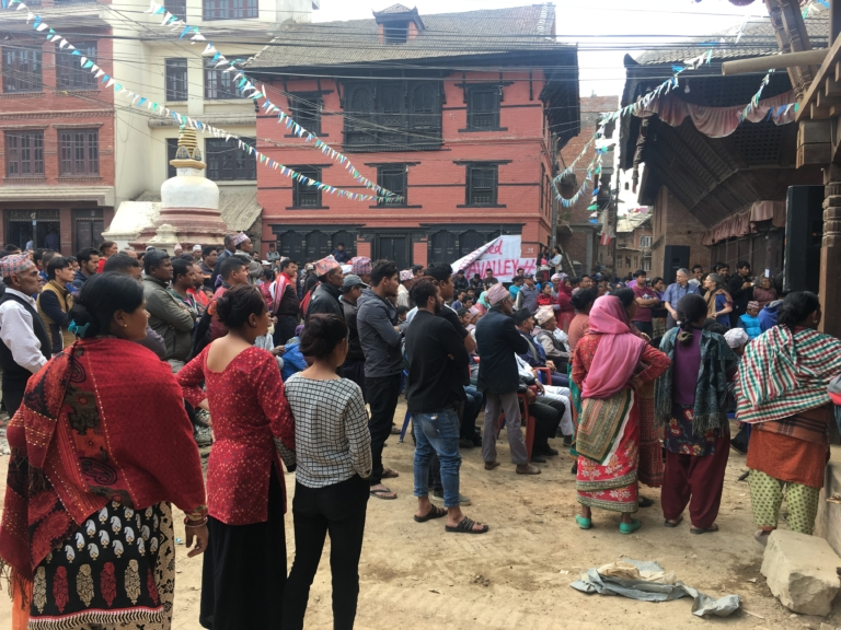 Mass gathering in Khokana, where community members protested against the Fast Track.