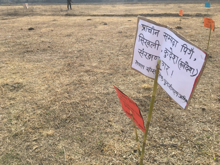Placards left behind at the army camp by the protesters.