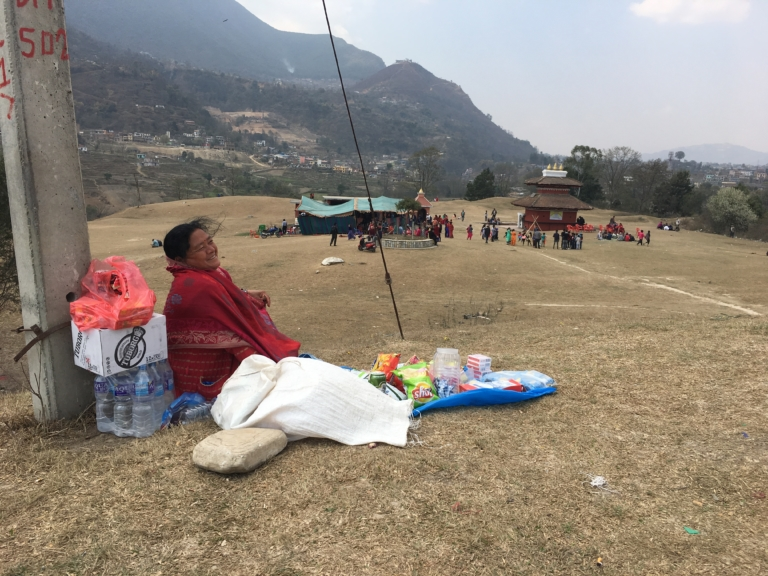 Jamuna Maharjan at her stall at Sikali.