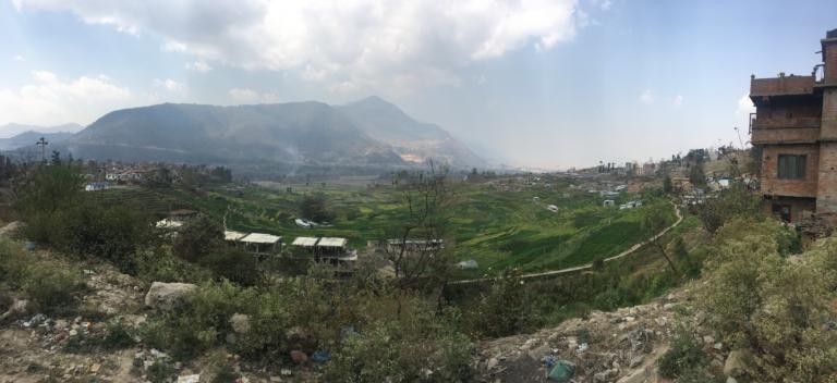 Fields of Khokana. Cluster of houses to the left is the main Khokana village.