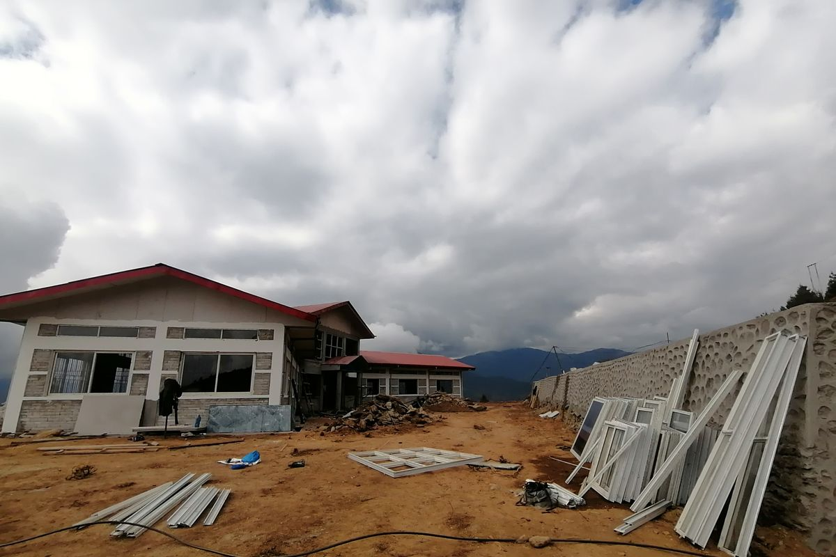 A section of an under-construction building of the NMA at Garma, Solukhumbu, where the institution aspires to run a tourism university focused on mountaineering and adventure tourism.