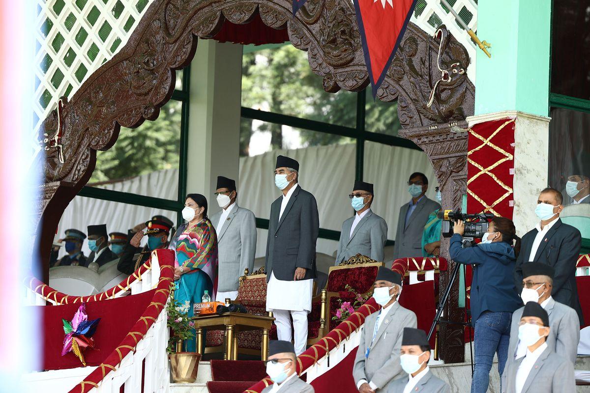 President Bidya Bhandari and Prime Minister Sher Bahadur Deuba at an event marking Constitution Day.