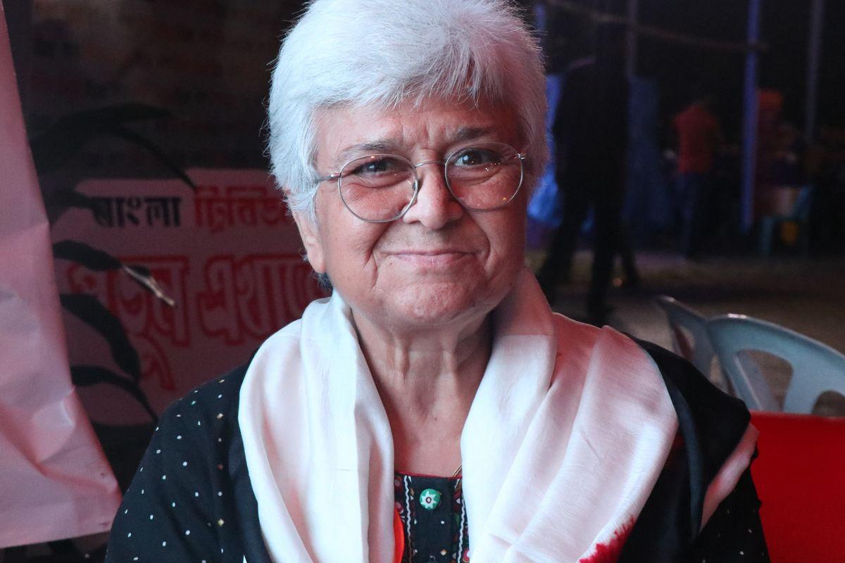 Kamla Bhasin at the Dhaka Lit Fest in 2017.