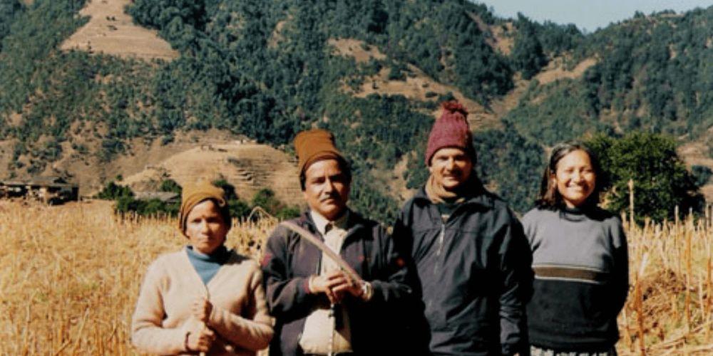 Hisila Yami (far right) with Baburam Bhattarai (second from right), Pushpa Kamal Dahal (second from left) and Sita Dahal (far left).