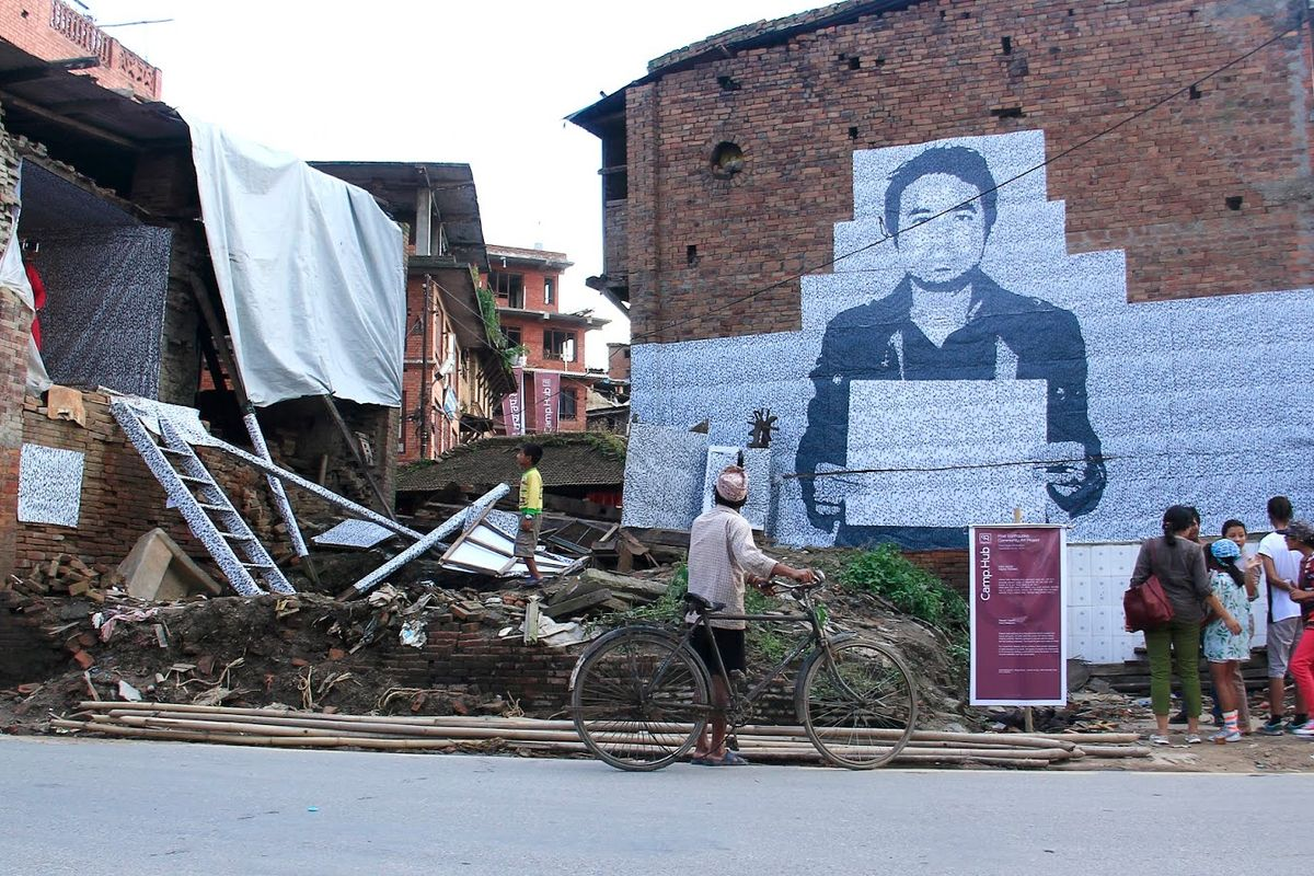 'Silent Reflection' by artist Rakesh Yakami was installed in the area where his house once stood. The project was part of Camp.Hub, a community art project led by Artree Nepal in Bhaktapur's Thulo Byasi after the 2015 earthquake.